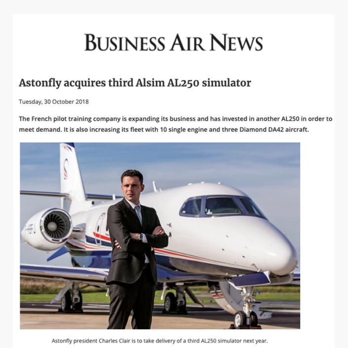 Astonfly acquiert le troisième simulateur Alsim AL250