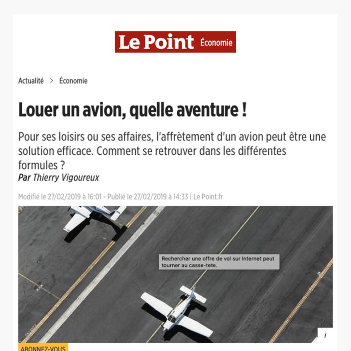 Louer un avion, quelle aventure ! - Article Le point