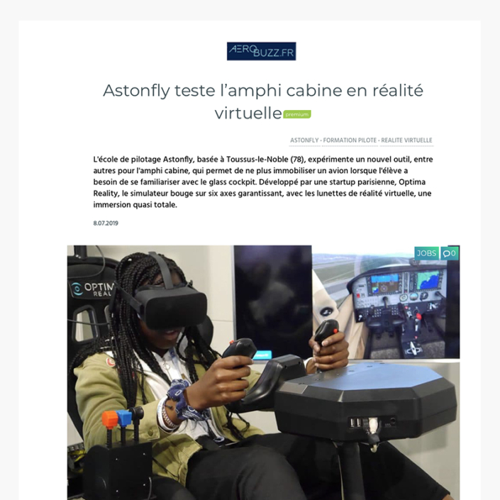 Astonfly teste l'amphi cabine en réalité virtuelle