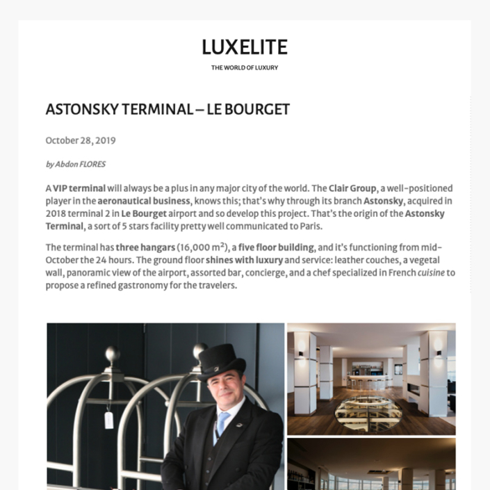 Astonsky terminal - Le Bourget - Article Luxelite