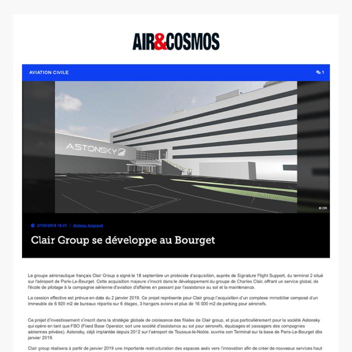 Clair Group se développe au Bourget - Air&Cosmos