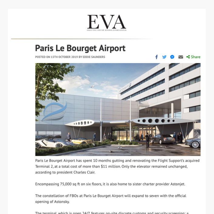 Aéroport Paris Le Bourget - Article Executive and Vip International (EVA)