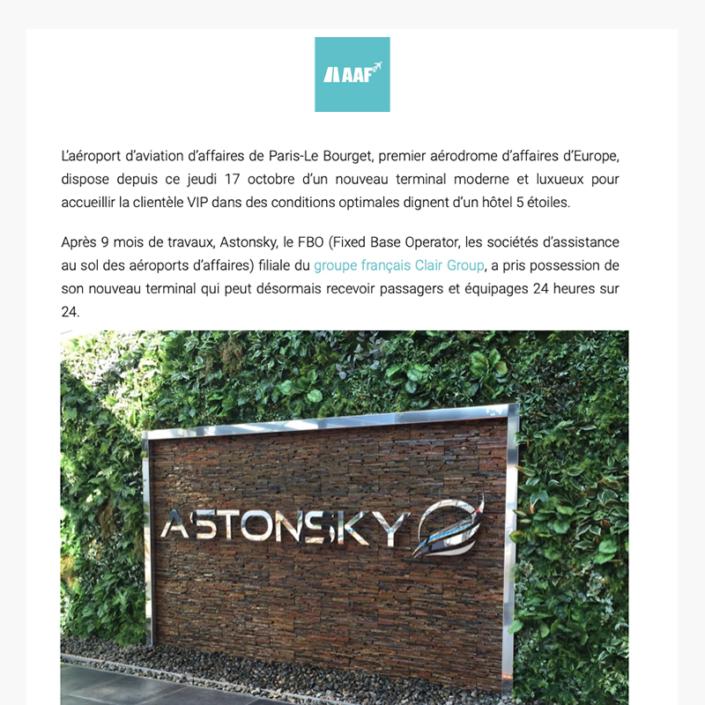 Astonsky inaugure son luxueux terminal à Paris Le Bourget