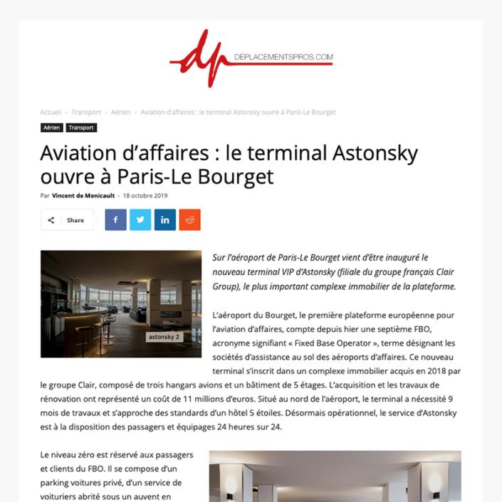 Aviation d'affaires - le terminal Astonsky ouvre à Paris-Le Bourget