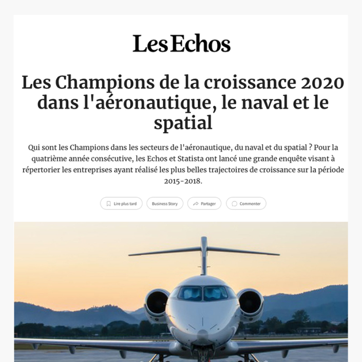 Les champions de la croissance 2020 dans l'aéronautique